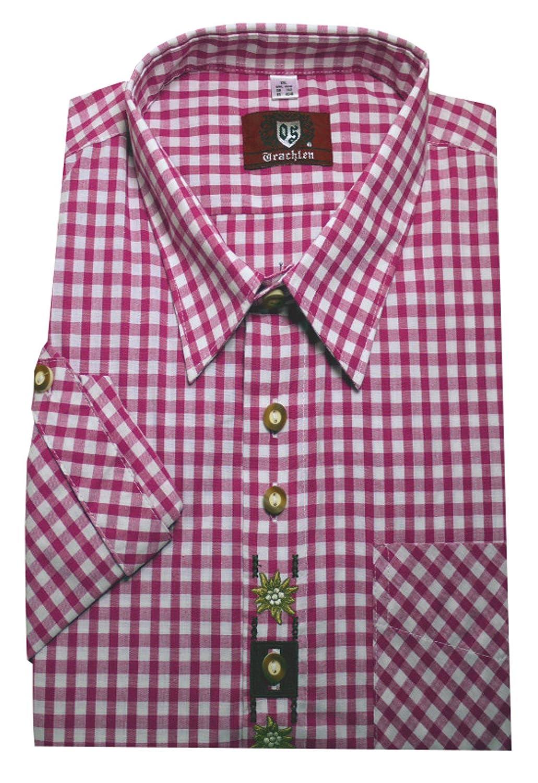 Orbis 0105 Trachtenhemd pinkrot weiß kariert mit Stickerei Krempelarm bequemer Schnitt M bis 3XL