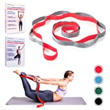 Sport2People Yoga Strap for Stretching and Rehabilitation– Rehab Stretch Band with 12 Loops to Improve Your Flexibility - Physical Therapy Equipment (Color: gray-red)