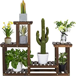 YAHEETECH Wooden Plant Stand Multiple Tiered Flower Rack Garden 7 Potted Shelve Unit Holder Yard Corner Indoor&Outdoor Patio Balcony for Succulent/Rattan Plant Display Brown 37.4 x 9.8 x 28.7 inch
