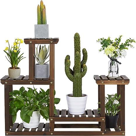 Yaheetech Estantería Maceta Madera para Exterior Soporte para Plantas Flores Estante 4 Niveles para Terraza Balcón 95 x 73 x 25 cm