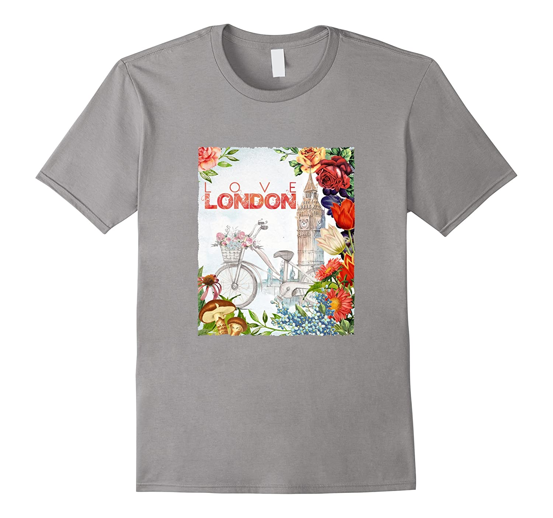 Retro Bike  Love London Floral Graphic T-Shirt-TD