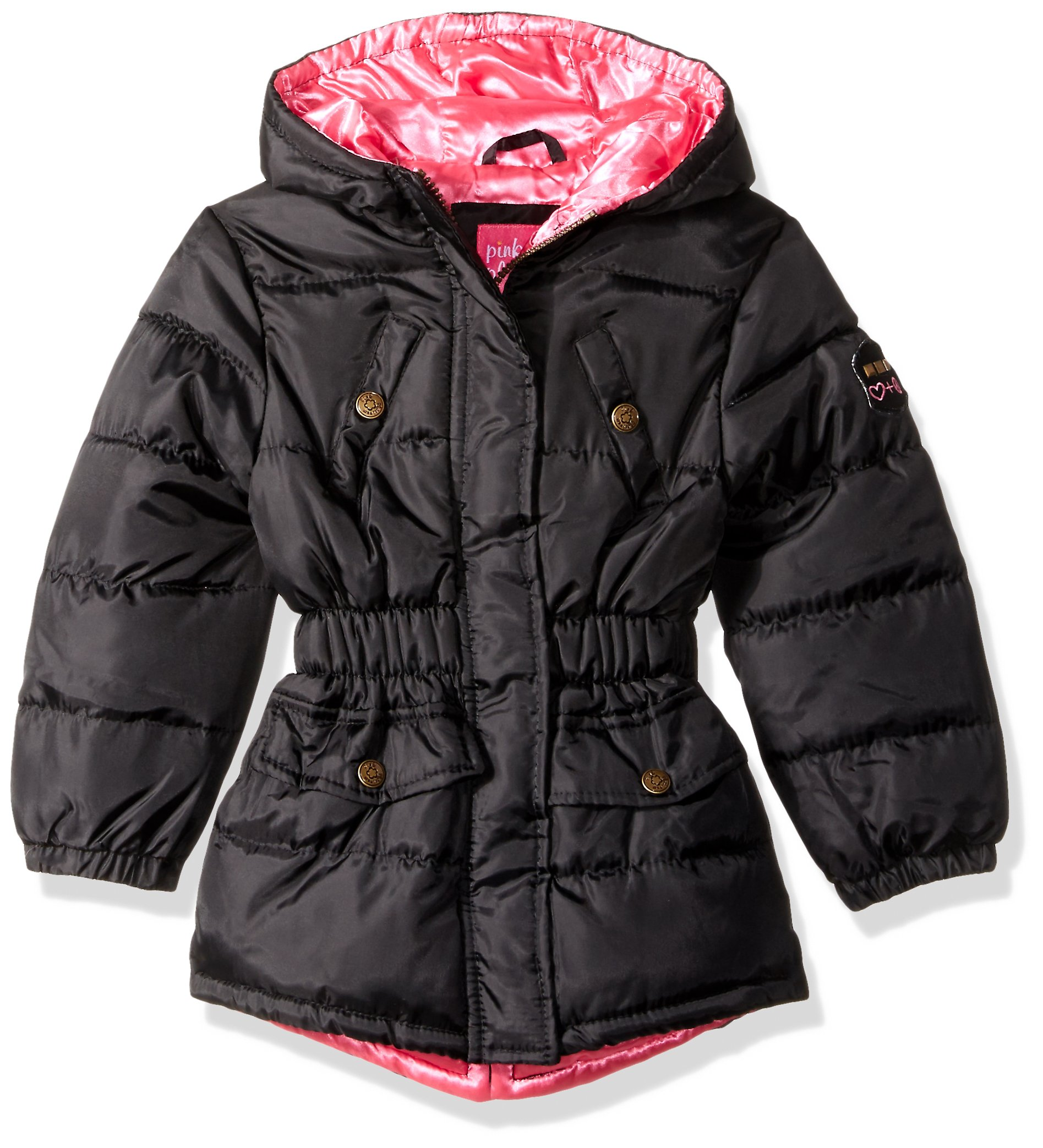Pink Platinum Toddler Girls' Pop Anorak Jacket, Black, 2T