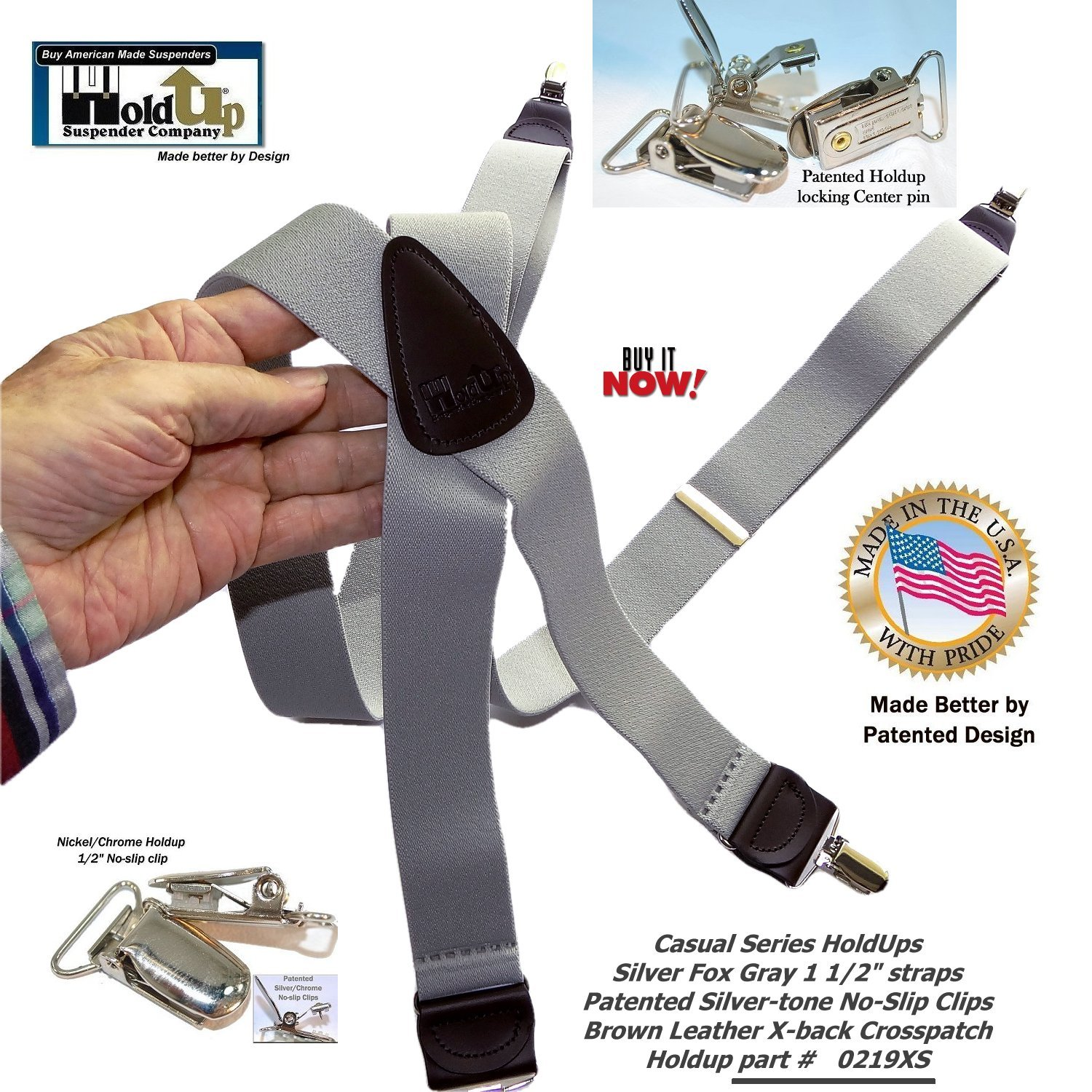HoldUp Brand Silver Fox Gray X-back Suspenders are 1 1/2'' Wide with patented No-slip Silver-tone Clips by Hold-Up Suspender Co. (Image #9)