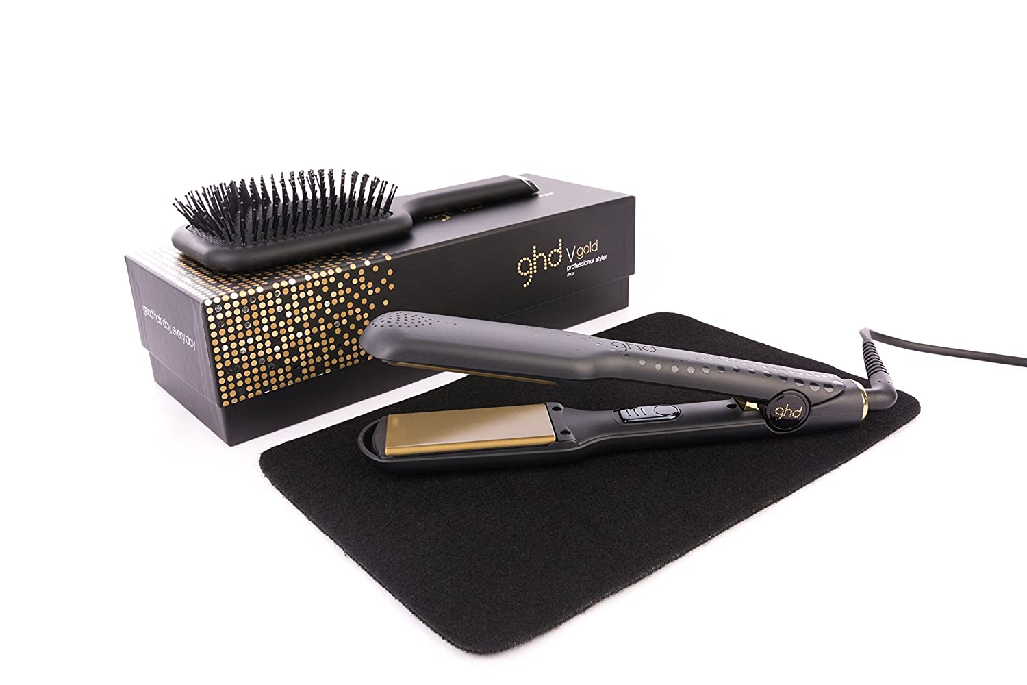 GHD Max Gold V Styler Mark 5 Wide Plate with Mateque Heat Mat & GHD Paddle Brush