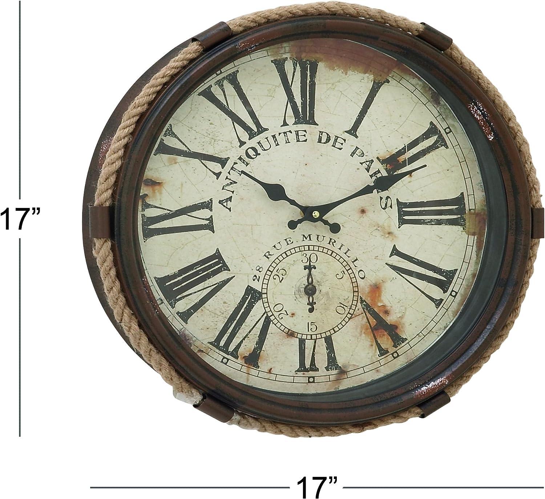 Amazon Com Deco 79 52557 Metal Rope Glass Wall Clock 17 Home Kitchen