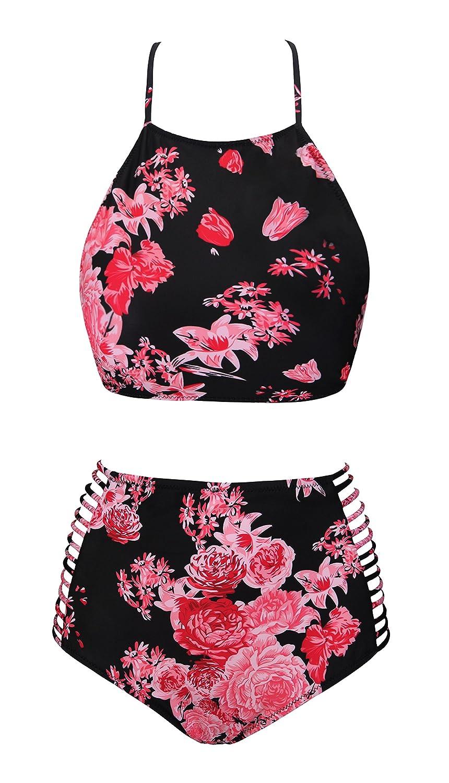 14ee4757b8 Amazon.com  UniSweet Womens Retro Classic Floral Crop Top Bikini Two Piece  Swimsuit (FBA)  Clothing