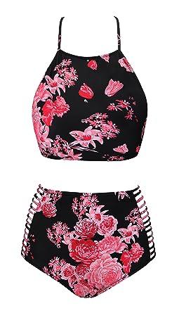 f490956e9e UniSweet Floral Swimwear Bikini Cross Straps Bathing Suits Tankini High  Waisted Womens Two Piece Swimsuit for