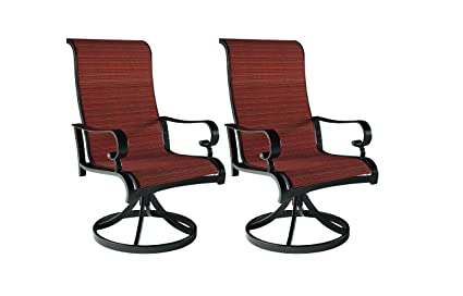 Ashley Furniture Signature Design - Apple Town Outdoor Sling Swivel Dining  Chair - Set of 2 - Rust Free Aluminum - Burnt Orange