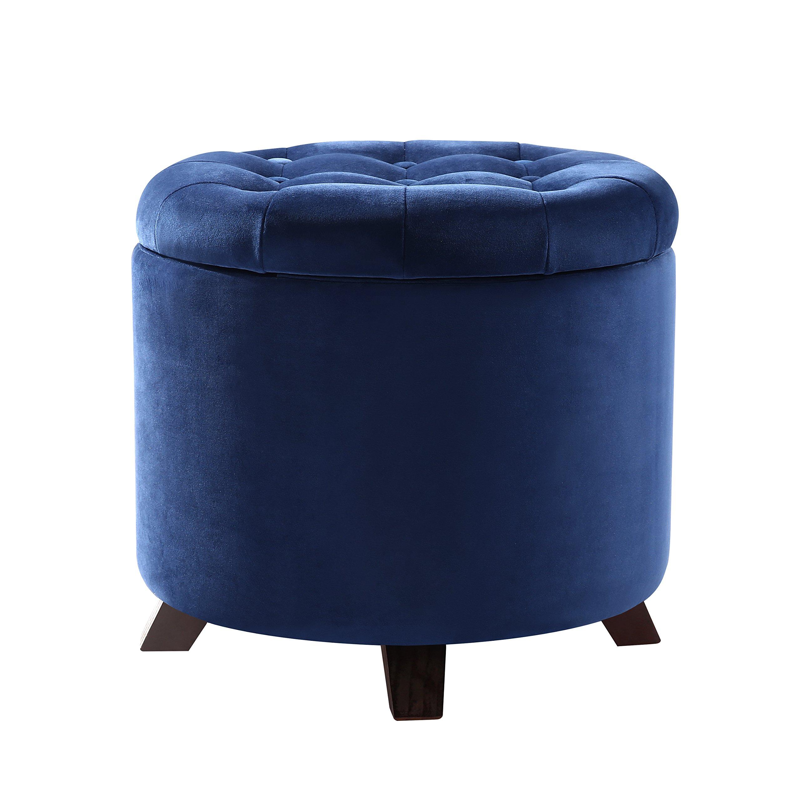 Poly and Bark Antonia Velvet Storage Ottoman, Blue