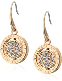b635bd1248e4a Amazon.com  Michael Kors Logo Silver-Tone and Crystal Drop Earrings ...