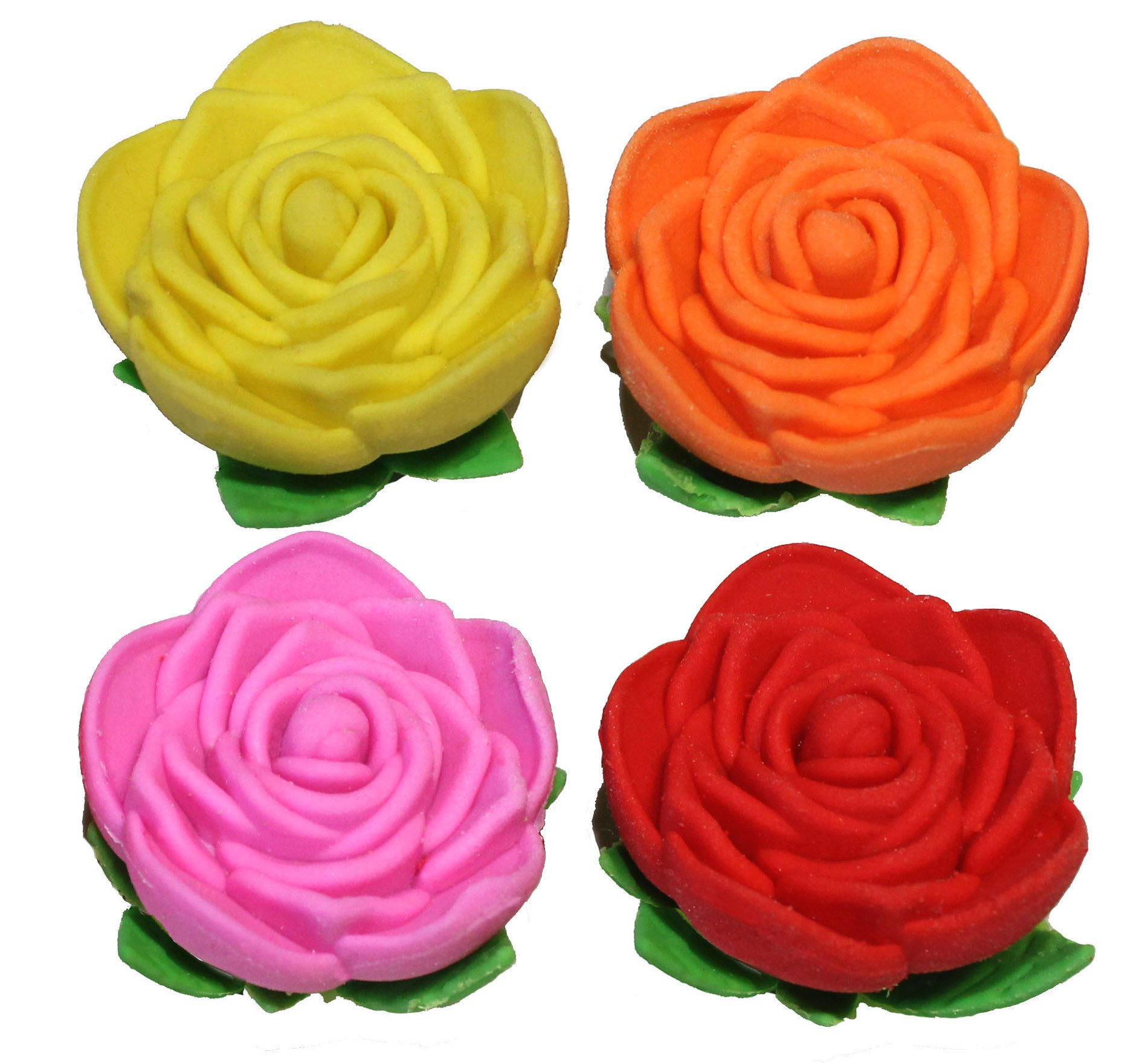Lucore Rose Pencil Top Erasers - 16 pcs Colorful Flower Shaped Kids Pen Cap Toppers by Lucore Home (Image #1)