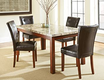 Attractive Steve Silver Montibello Marble Top Casual Dining Table In Cherry Finish