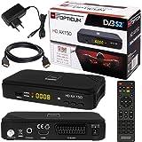 SATELLITEN SAT RECEIVER ✨ HB DIGITAL DVB-S/S2 SET: Hochwertiger DVB-S/S2 Receiver + HDMI Kabel mit Ethernet Funktion und vergoldeten Anschlüssen (HD Ready, HDTV, HDMI, SCART, USB 2.0, Koaxial Ausgang, Opticum AX150 )