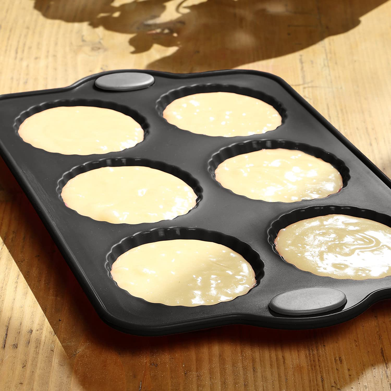 LEVIVO Molde de Horno de Silicona para 6 pastelitos, Gris, 21 cm: Amazon.es: Hogar