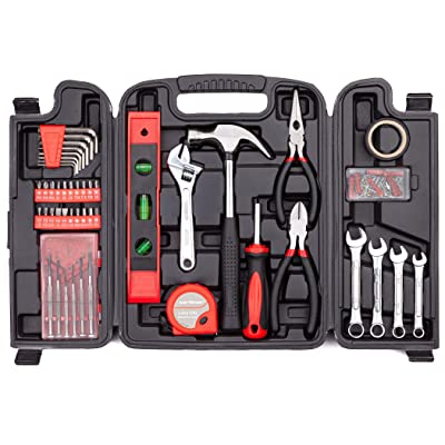 CARTMAN 136-Piece Tool Set - General Household Hand Tool Kit with Plastic Toolbox Storage Case: Automotive