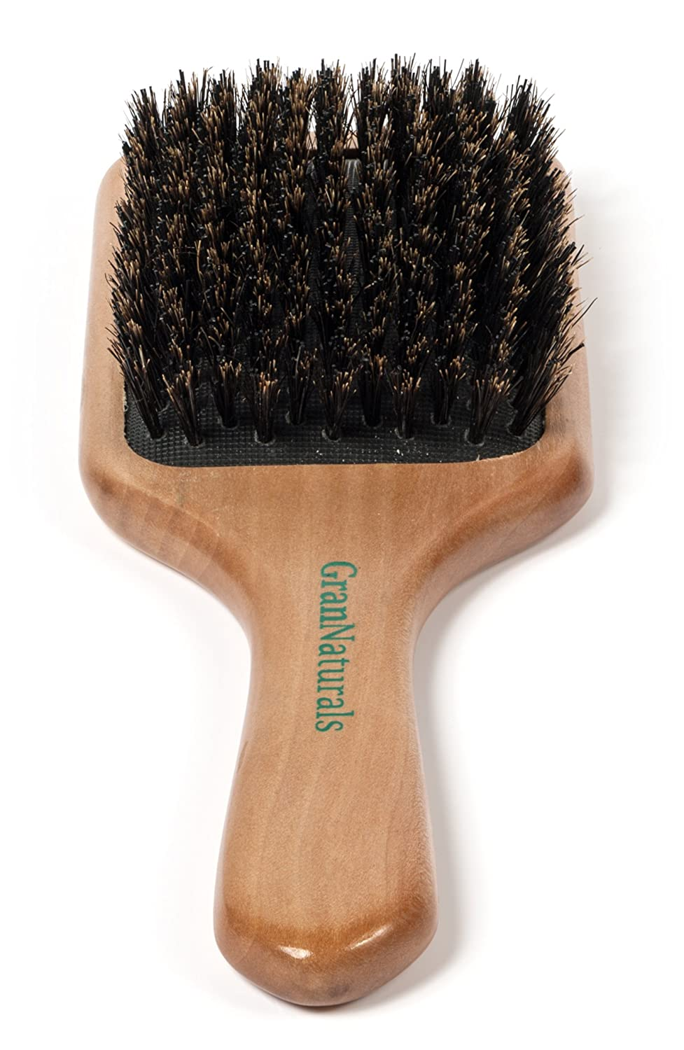 GranNaturals Boar Bristle Hair Brush for Women and Men - Natural Wooden Large Flat Square Paddle Hairbrush - For Thick, Fine, Thin, Wavy, Straight, Long, or Short Hair