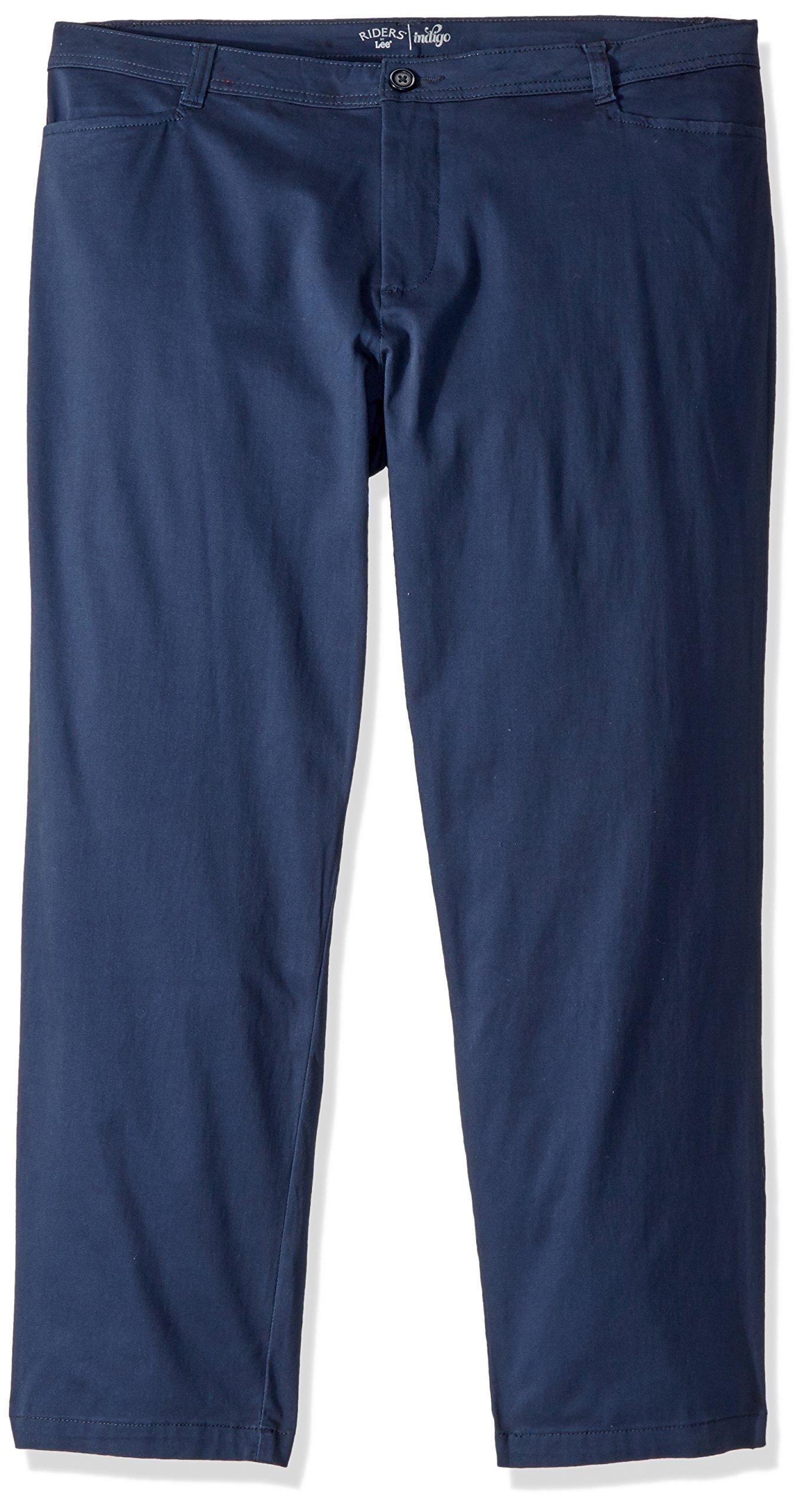 Riders by Lee Indigo Women's Petite-Plus-Size Straight Leg Casual Twill Pant, Dress Blues, 22W Petite