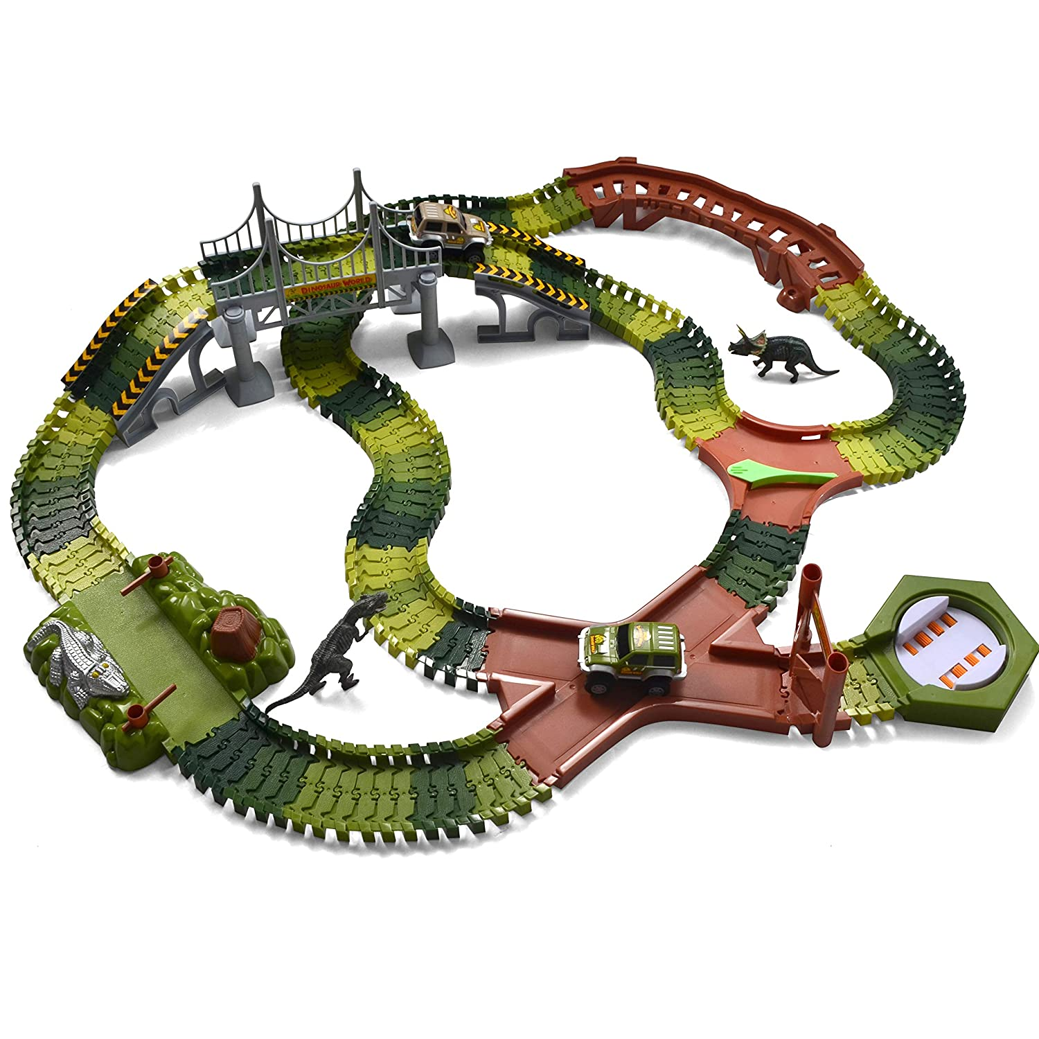 JOYIN Dinosaur World Race Tracks Flexible Train Track Race Car Vehicle Playset with 2 Battery Powered Race Cars 2 Dinosaur Actions Figures and 192 Piece Tracks 205 Piece in Total