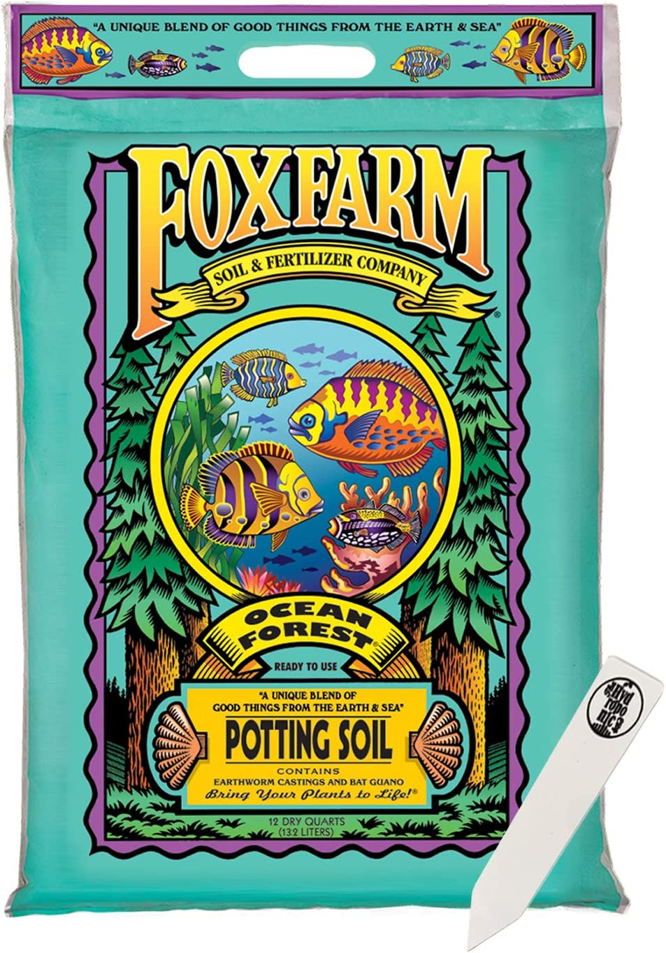 FoxFarm Ocean Forest Potting Soil Mix Indoor Outdoor for Garden and Plants | Plant Fertilizer | 12 Quart + THCity Stake (1 Pack)