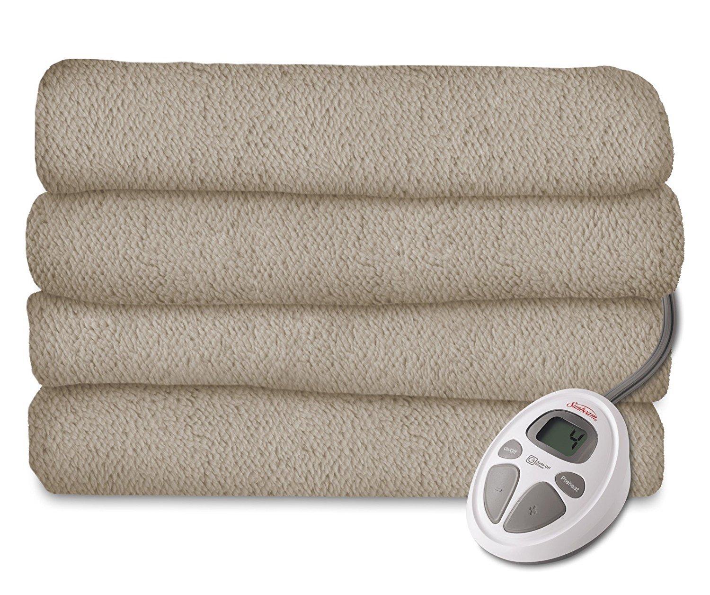 Mushroom Twin Sunbeam Heated Blanket   LoftTec, 10 Heat Settings, Walnut, Twin