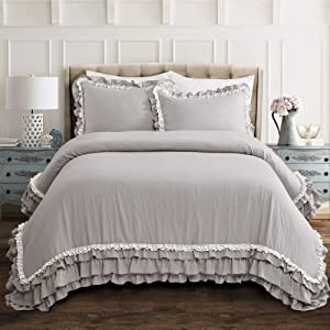 Lush Decor Ella Shabby Chic Ruffle Lace 3 Piece Comforter Set, King, Light Gray