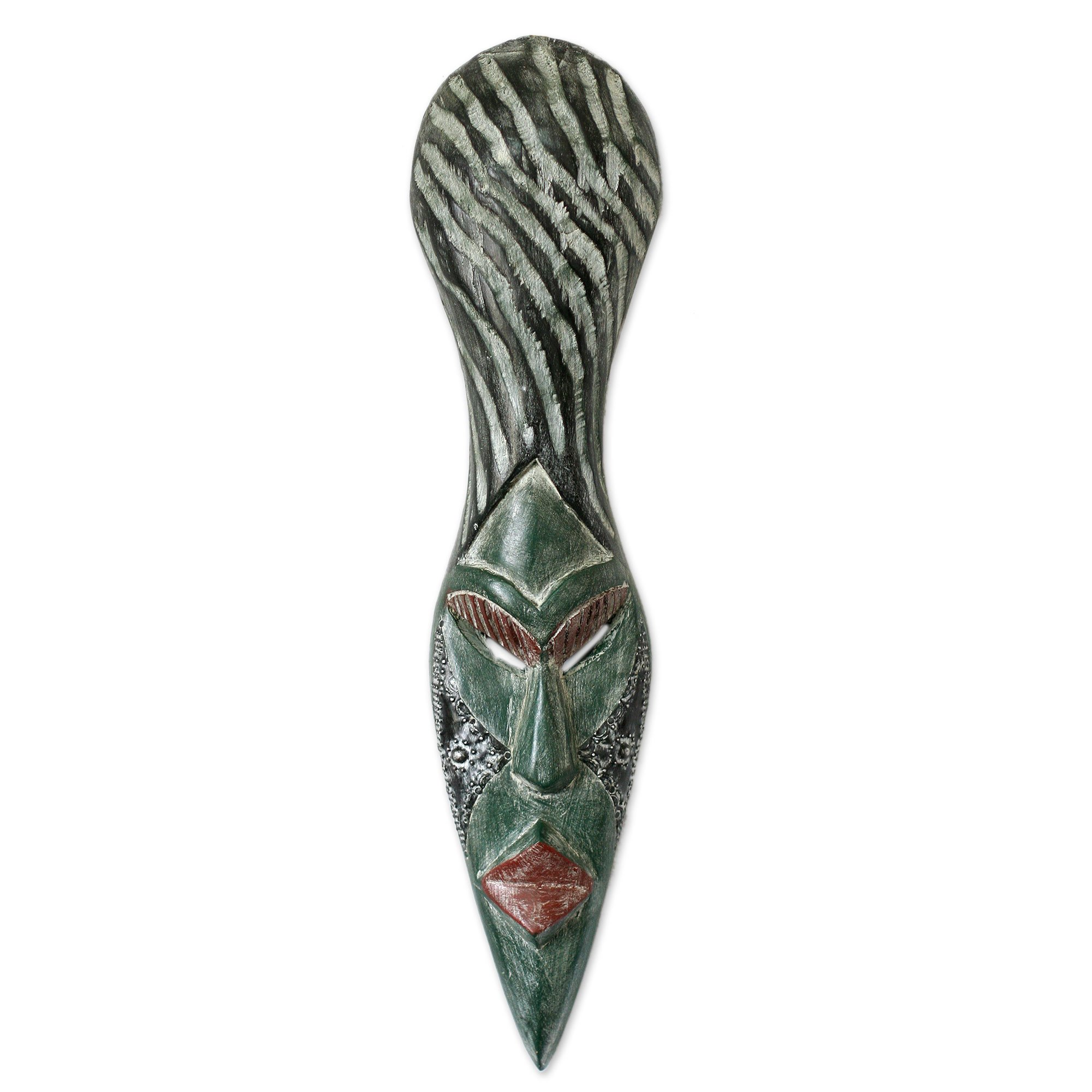 NOVICA Decorative Ghanaian Large Wood Mask, Green 'Beautiful African Woman'