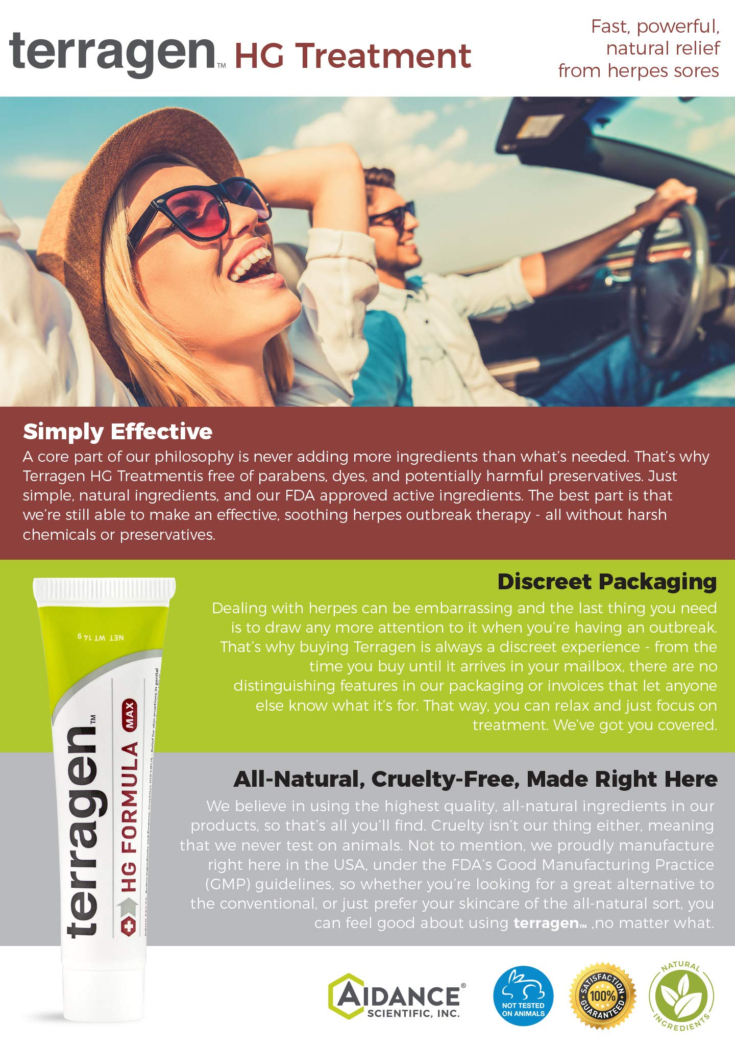 Herpes Outbreak Treatment – HG Formula MAX Patented Pain Free Gentle Natural Treatment for Symptoms Caused from Herpes Outbreak- Discomfort Pain Itch Sores Ulcers Blisters by Terragen - 14gm