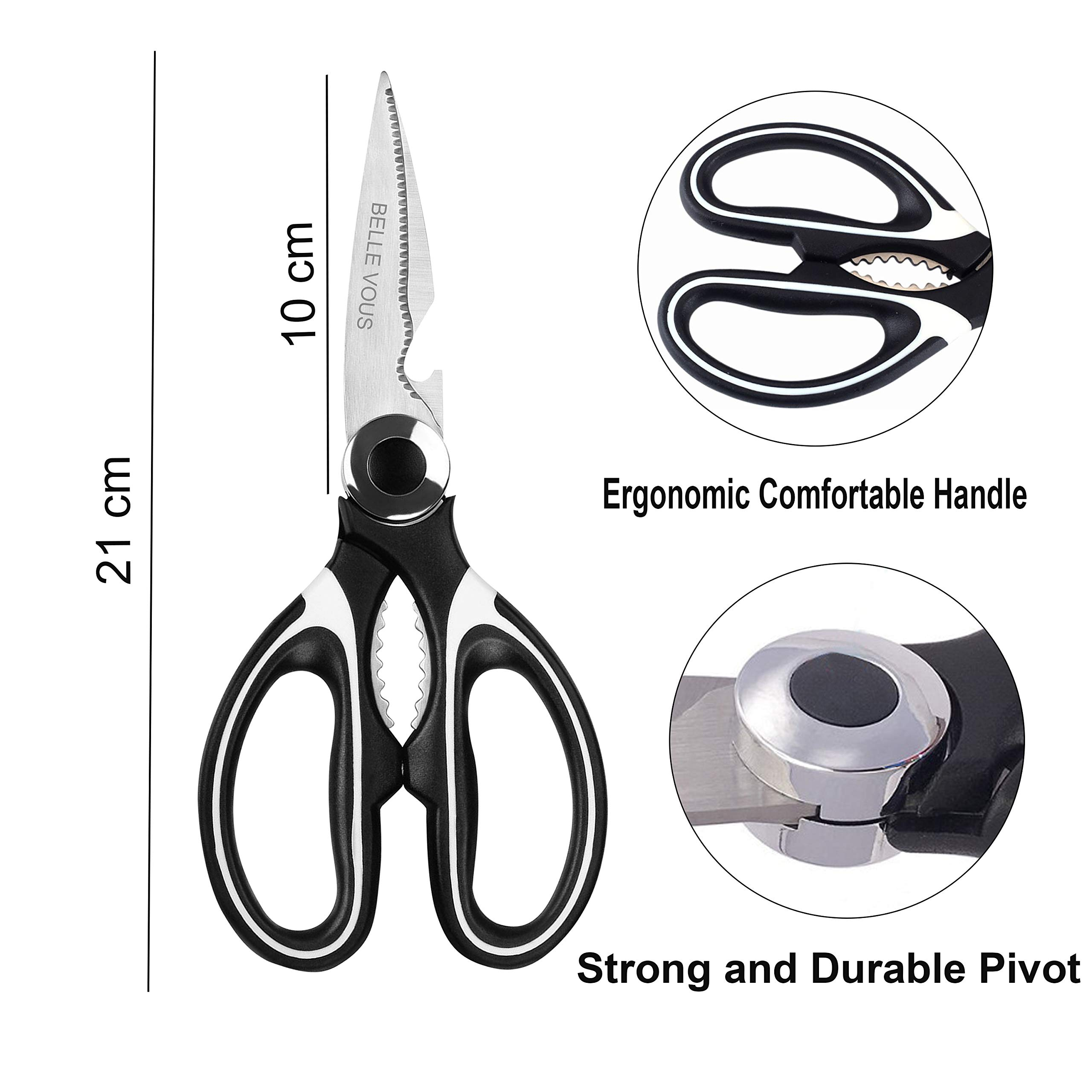 Heavy Duty Kitchen Scissors Set (Pack of 2) - Razor Sharp Multipurpose Utility Shears with Stainless Steel Blade for Herb, Chicken, Fish, Meat, Vegetables - Kitchen Shears (Black) by BELLE VOUS (Image #4)