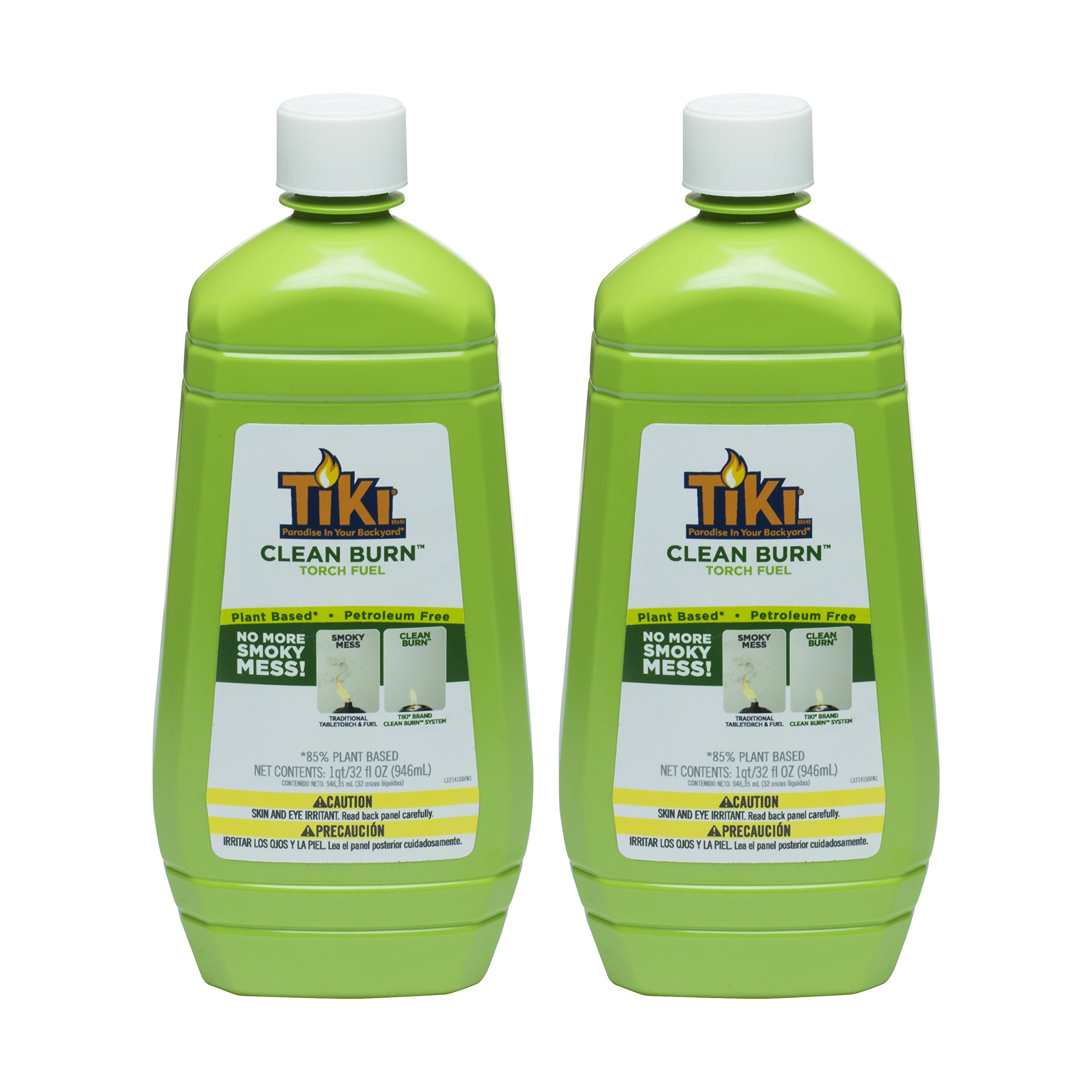 Tiki Brand Clean Burn Torch Fuel, No More Smoky Mess, (2) 32 Ounce Bottles