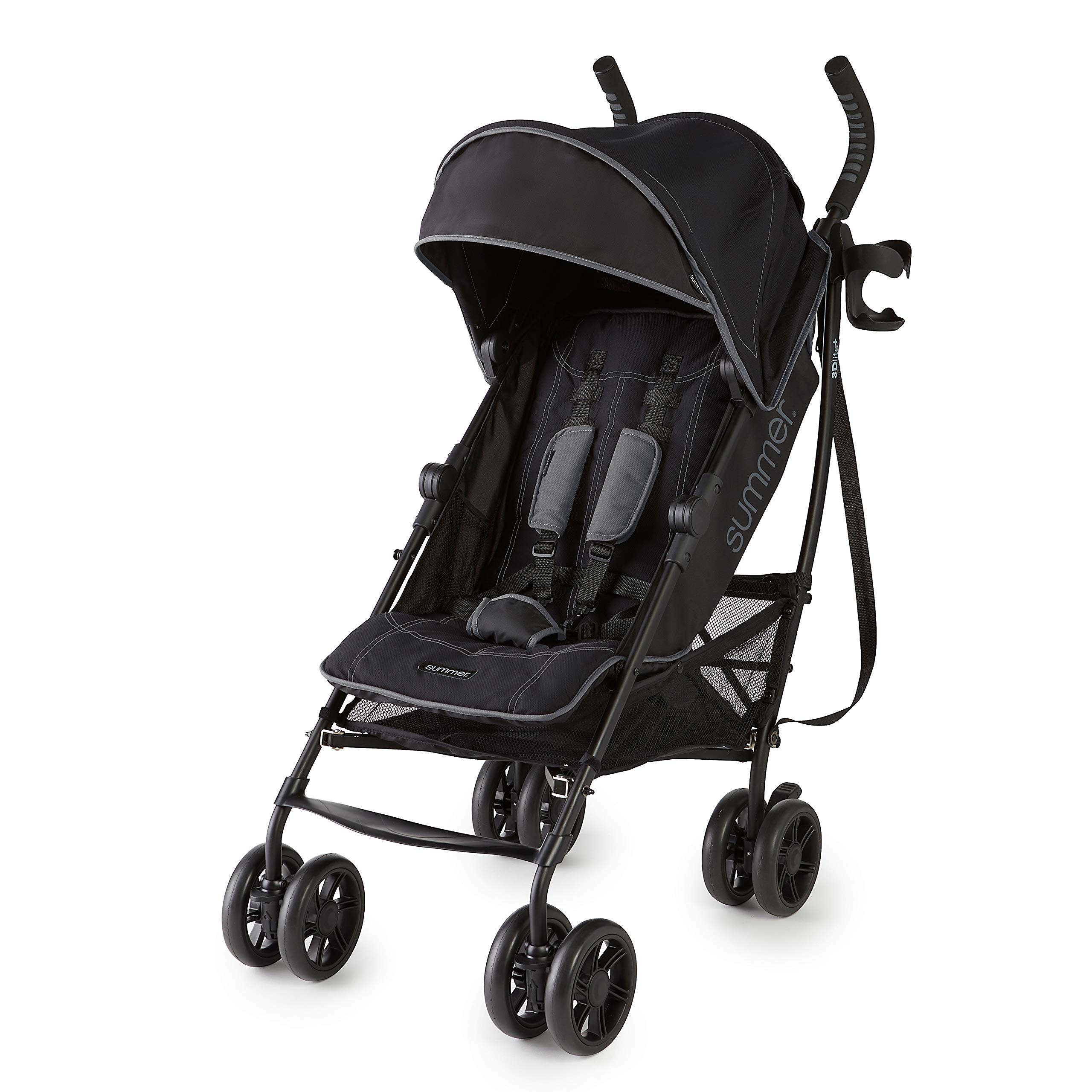 Summer 3Dlite+ Convenience Stroller, Matte Black - Lightweight Umbrella Stroller with Oversized Canopy, Extra-Large Storage and Compact Fold