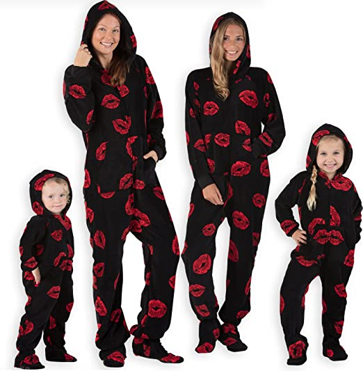 Footed Pajamas Family Matching Kisses Adult Hoodie Chenille Onesie - Large  Black 30e2baa68