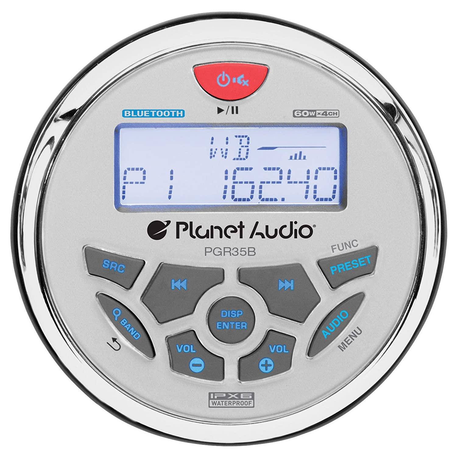 Planet Audio PGR35B IPX6 Rated, Bluetooth, Digital Media MP3 / WMA / USB / AM/FM Compatible, Weather-Proof Marine Stereo, (No CD Player)