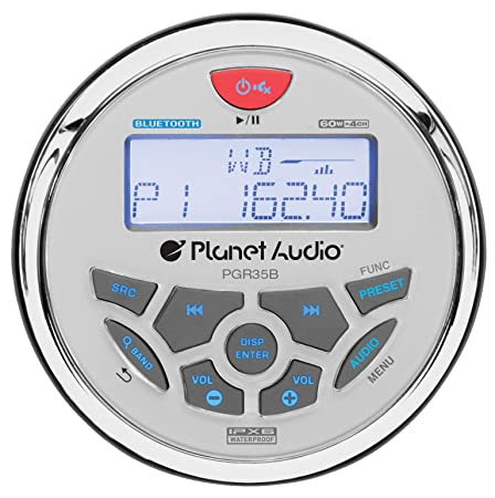 Planet Audio PGR35B Weatherproof Marine Gauge Receiver – Bluetooth, Digital Media MP3 Player, No CD Player, USB Port, AUX-In, AM FM Radio Receiver
