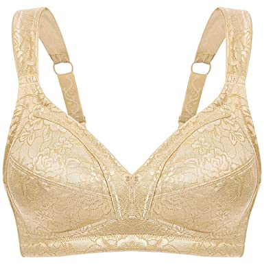 d85b16d607a61 Wingslove Women s Minimizer Full Coverage Bra Wirefree Plus Size Non Padded  Bra(Nude