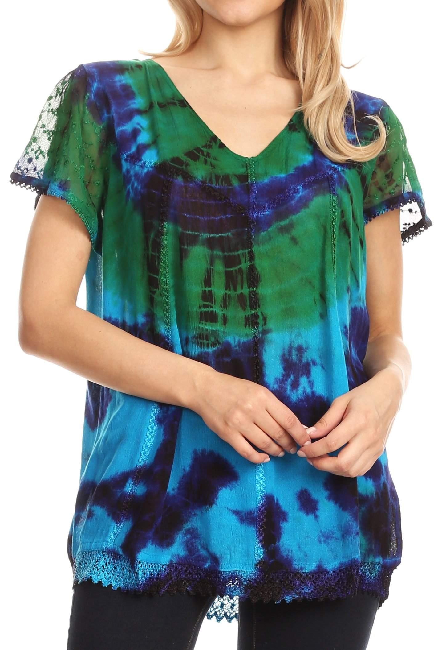 Sakkas 17787 - Josea Relaxed Fit Tie Dye Embroidered Crepe Cap Sleeve Blouse | Cover up - Turquoise/Green - OSP