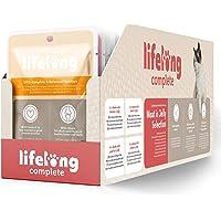 Marca Amazon - Lifelong Alimento completo para gatos adultos - Selección de carne en gelatina, 2,4 kg (24 bolsitas x…