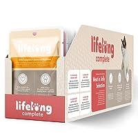 Marque Amazon- Lifelong Aliment complet pour chats adultes- Sélection à la viande en gelée 9,6 kg (96 sachets x 100g)