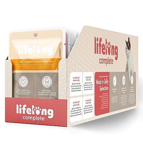 Marca Amazon - Lifelong Alimento completo para gatos adultos - Selección de carne en gelatina,
