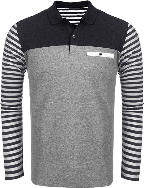 JINIDU Men's Long Sleeve Slim Fit Casual Polo Shirts Fashion Cotton T Shirt
