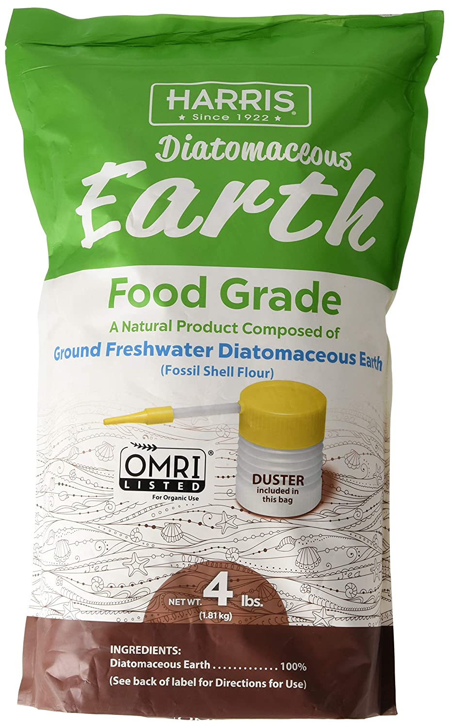Harris Diatomaceous Earth Food Grade, 4lb w/Free Powder Duster DE-FG4P