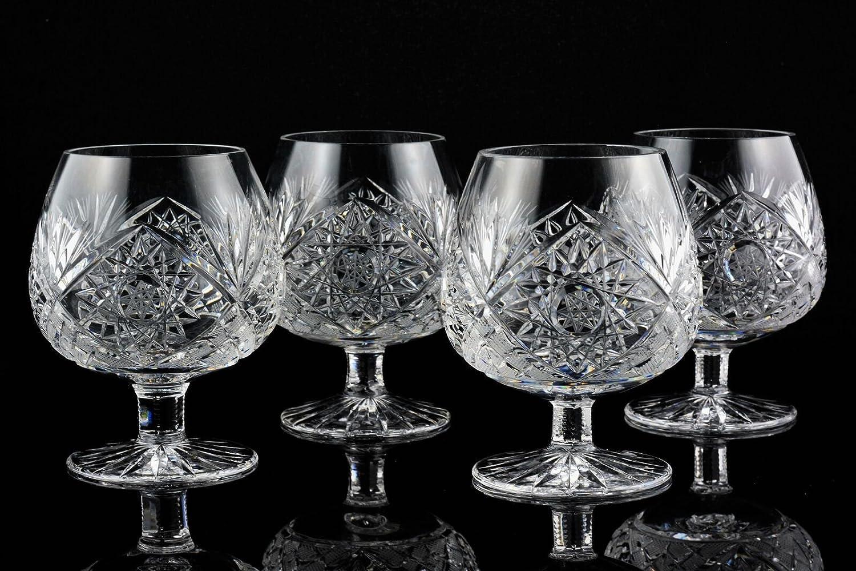 Chantilly Lace Brandy Snifter Set of 4 Kusak Cut Glass Works ChantillyBrandy