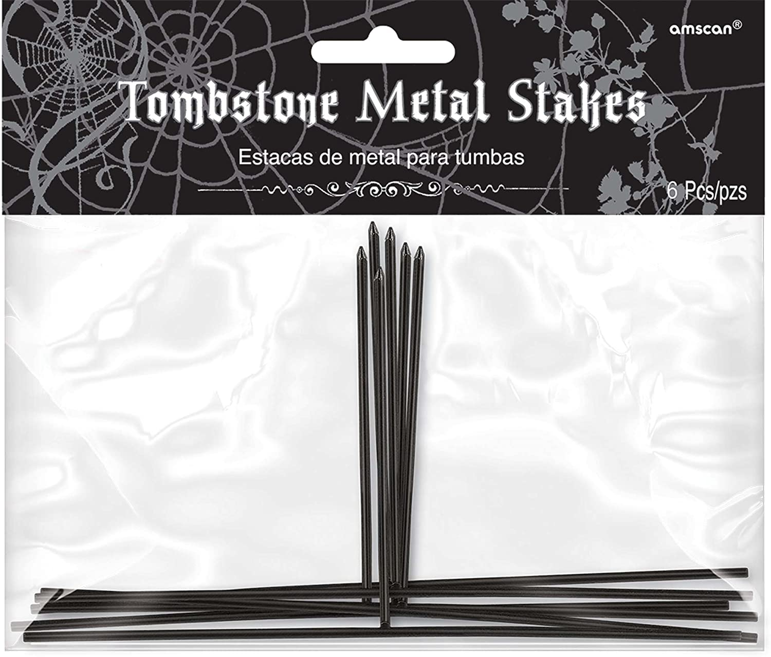 Amscan Metal Stakes for Styrofoam Halloween Tombstone Decorations, Package of 6: Garden & Outdoor