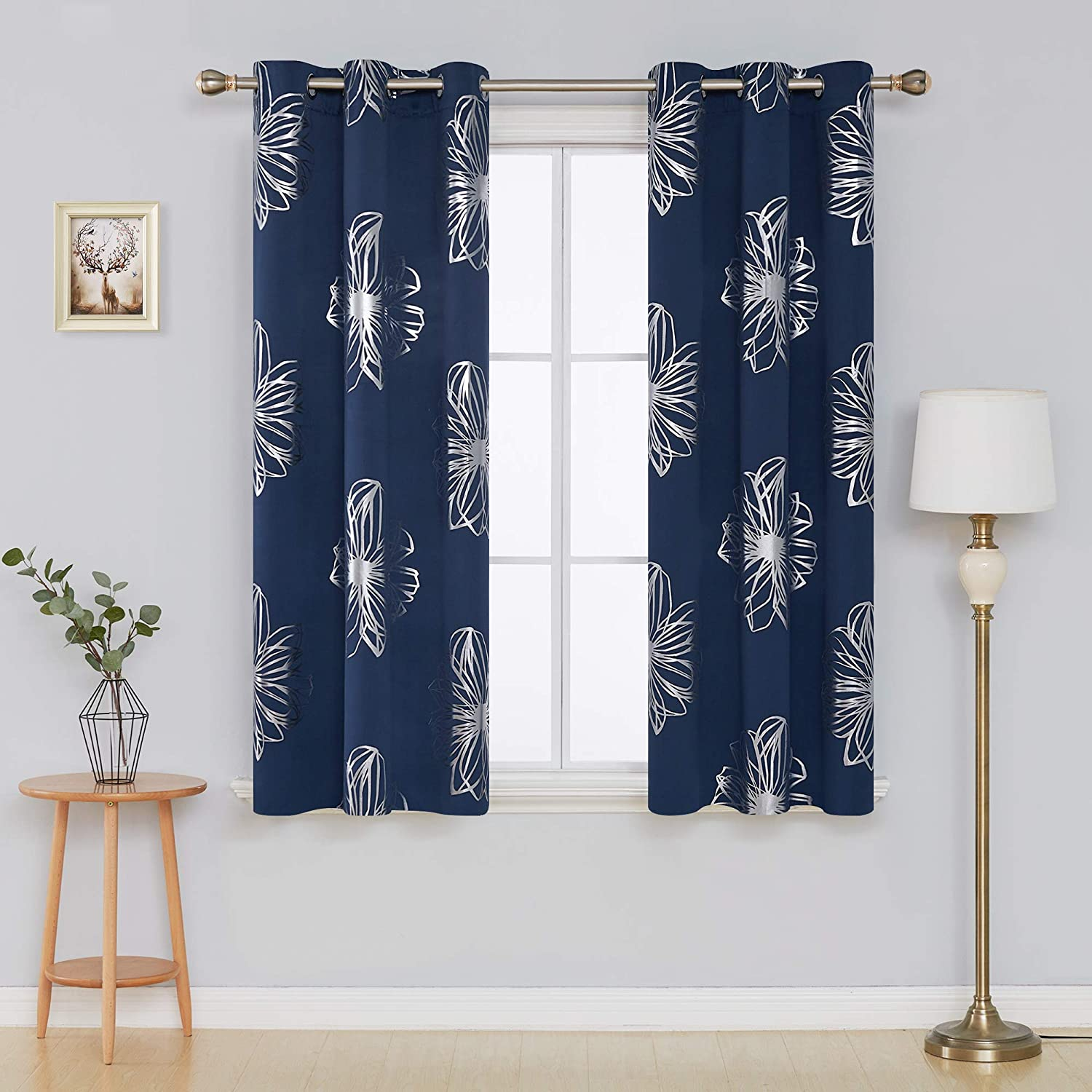Deconovo Light Gray Flower Foil Printed Thermal Insulated Bedroom Grommet Blackout Curtains for Bedroom 52 W x 63 L Set of 2