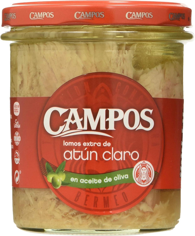 CAMPOS Conserva de Atún Claro en Aceite de Oliva, Frasco de Cristal, 315 g