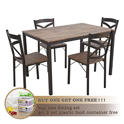 Amazon.com   Dporticus 5 Piece Dining Set Industrial Style Wooden Kitchen  Table And Chairs With Metal Legs  Espresso   Table U0026 Chair Sets