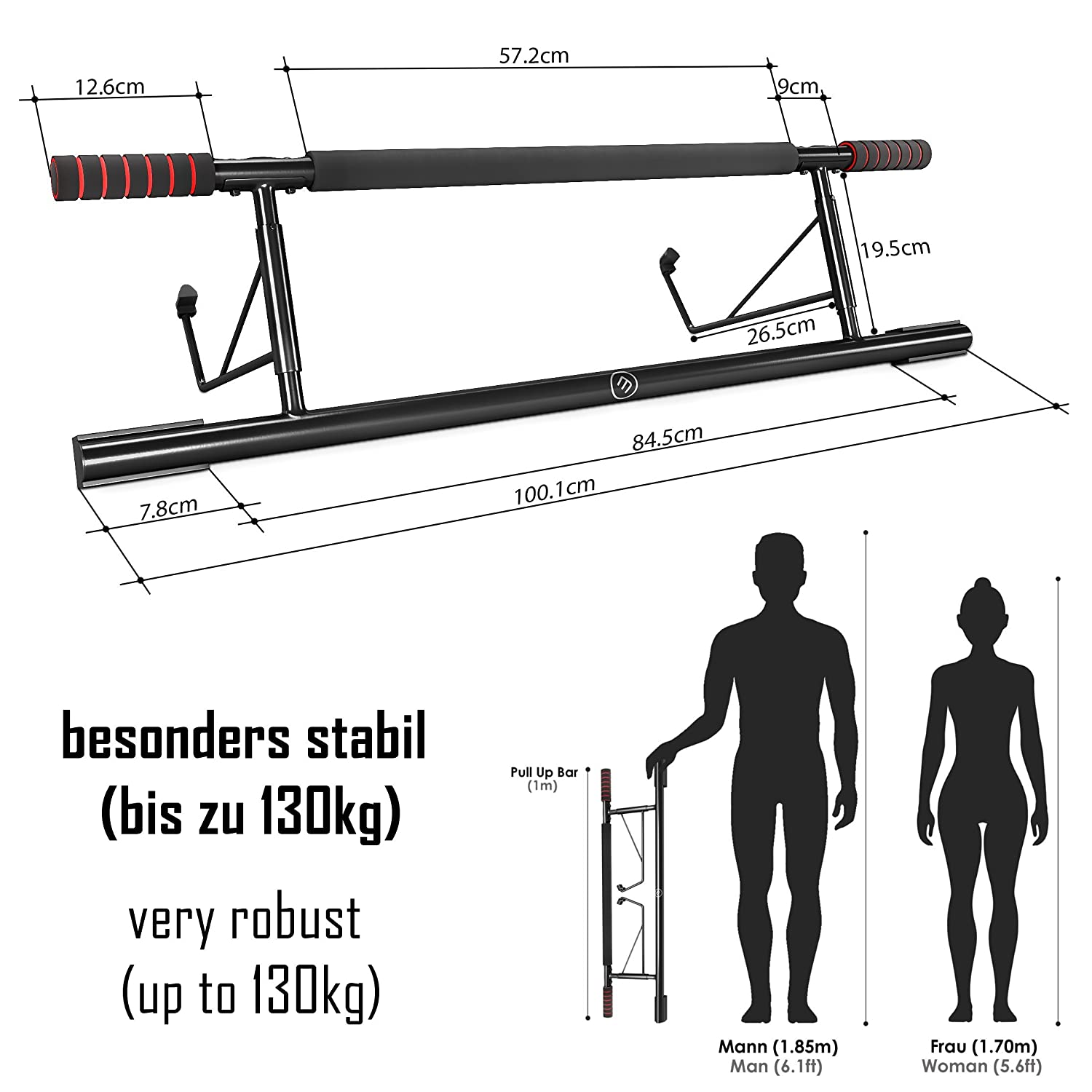 Mounting on Doors Indoor Workout Guide Pull-Up Bar for Door Frames without Screws // Drilling Extra Wide Workout Bar for Hanging in Doorway at Home Professional Chin-Up Bar with Padded Handles