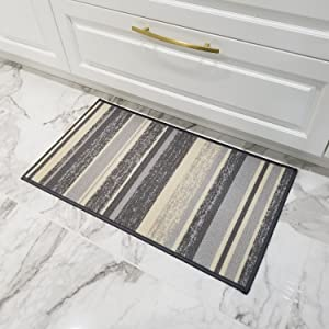 Doormat 18x30 Gray Stripes Kitchen Rugs and mats | Rubber Backed Non Skid Rug Living Room Bathroom Nursery Home Decor Under Door Entryway Floor Non Slip Washable | Made in Europe