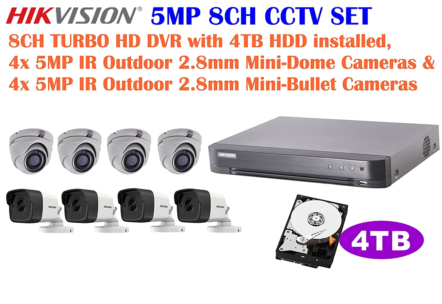 Amazon.com : Hikvision 5MP 8CH Turbo HD CCTV System: 8CH DVR with 4TB HDD Installed, 5MP IR 2.8mm Lens Outdoor Mini-Bullet Camera x4, and 5MP IR 2.8mm Lens ...