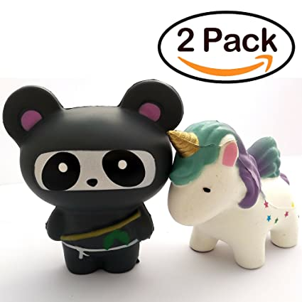 PILPOC Squishy Toys (2PCS Set), Jumbo Slow Rising Scented Squishy Toys, Stress Relieve Toys, Jumbo Unicorn and Ninja Panda Squishy Toy, Squeeze Toys ...