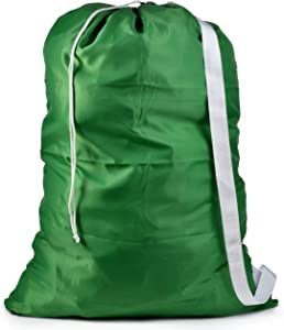 "Shoulder Strap Laundry Bag - Drawstring Locking Closure, Durable Nylon Material, Large Capacity, Heavy Duty Stitching, Hands Free Carrying, Perfect for Laundromat or College Dorm. (Green | 30"" x 40"")"